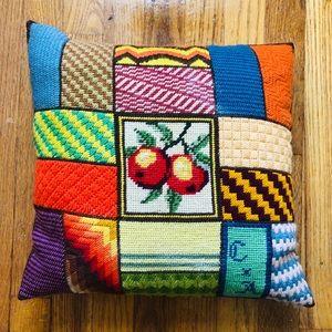 VTG Handmade Needlepoint Patchwork Pillow